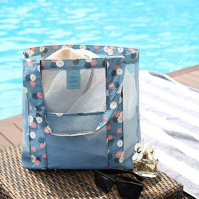 Large Mesh Tote Beach Bag Shopping Grocery Shoulder Handbag Purse Zipper Big New ()