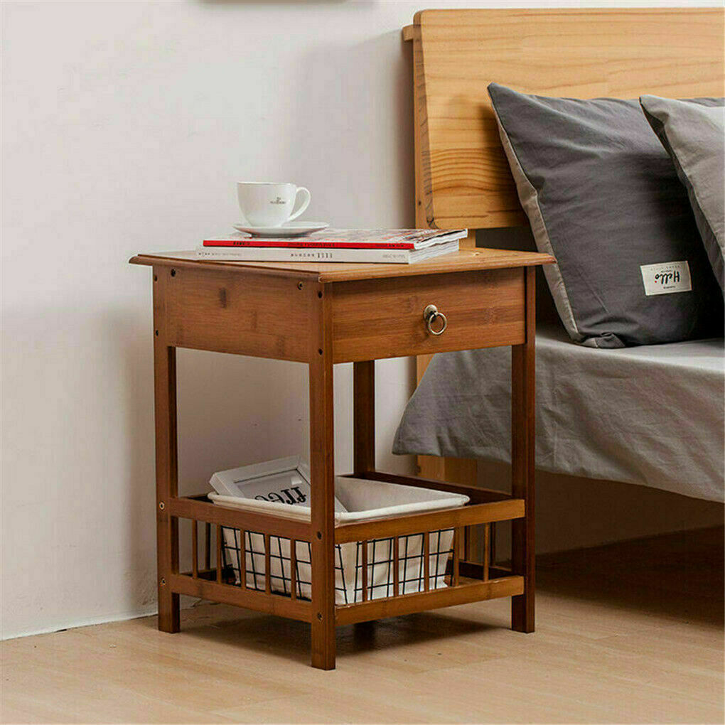 2 Tier Classic Bedside Table Drawer Side Table Living Room Coffee Tea End Table