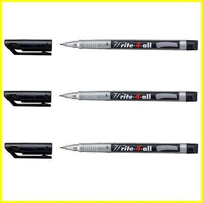 3 X Stabilo Write-4-all Marker Pen Permanent Waterproof Black - Sfine S Line