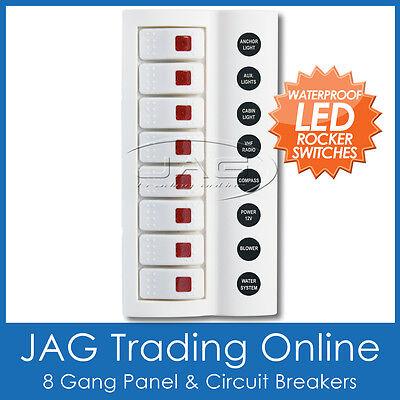 8 GANG WHITE DELUXE LED ROCKER SWITCH PANEL & CIRCUIT BREAKERS - BOAT/MARINE