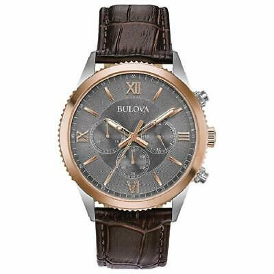 Bulova Men's Quartz Chronograph Multi Dial Rose Gold Tone 42mm Watch 98A219