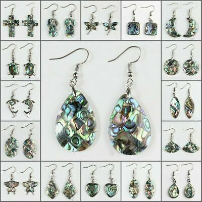 Natural Paua Abalone Shell Silver Hook Dangle Moon Cross Teardrop Earrings 1Pair Dangling Shell Cross