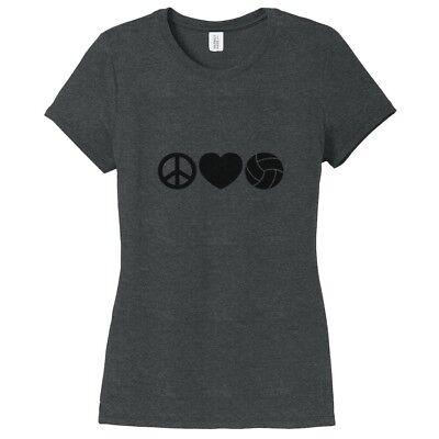 Peace Love Volleyball Women's Fitted T-Shirt - Sports Team Athlete Shirt Womens Team Love T-shirt
