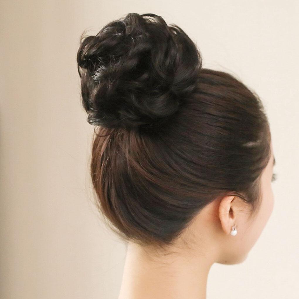 New Women Fashion Wavy Curly Dish Hair Bun Extension Hairpiece