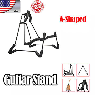 Foldable Electric Acoustic Bass Guitar Stand Portable A-Shaped Floor Rack Holder