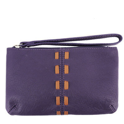 SILVERFEVER Cowhide Leather Wristlet Purse Wallet Whipstitched Detail Purple Tan