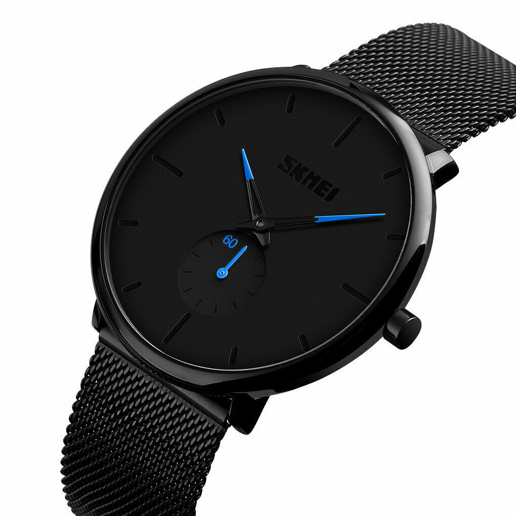 Mens Minimalist Ultra-Thin Analog Waterproof Dress Stainless Steel Wrist Watch Jewelry & Watches