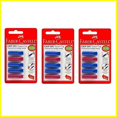 3 X Faber-castell Grip 2001 Eraser Cap Pencils Lead Protector - 3 Packs