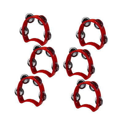 New 6pcs Red Color Plastic Cutaway Tambourines Small Hand Purcussion & 4 Jingles](Plastic Tambourines)