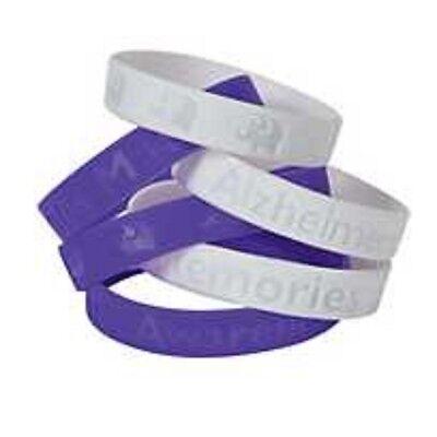 24 pc. Purple &  White  Alzheimers  Silicone Awareness Bracelets
