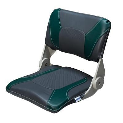 Boat Seat Charcoal & Green Compact Folding UV Treated Boating Seats