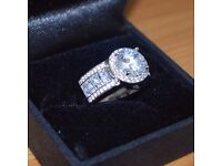 **NEW**Stunning Diamonique 925 Sterling Silver Ring Size N**