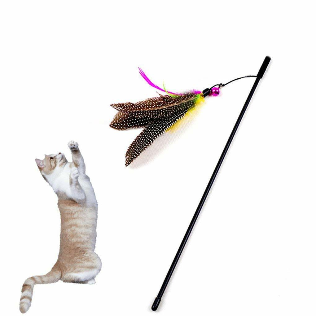 Kitten Cat Teaser Interactive Toy Dangler Rod with Bell and Feather Toy