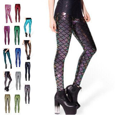 Fashion Women Fish Scale Printing Stretch Thin Shiny Mermaid Leggings Pants](Mermaid Pants)