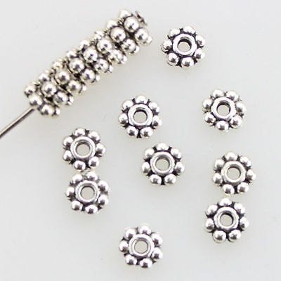 Lots Tibetan Silver Daisy Flower Shaped Spacer Beads Jewelry Making DIY 4mm/6mm - Flower Shapes