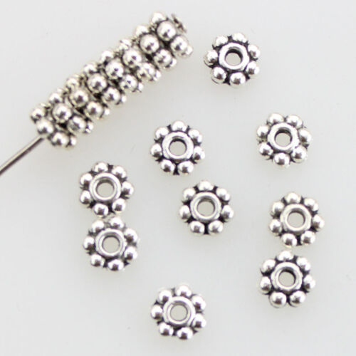 Wholesale 100//1000Pcs Tibetan Silver Daisy Spacer Beads Jewelry Making 4MM 6MM
