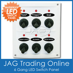 6 gang white led toggle switch panel with fuses waterproof. Black Bedroom Furniture Sets. Home Design Ideas