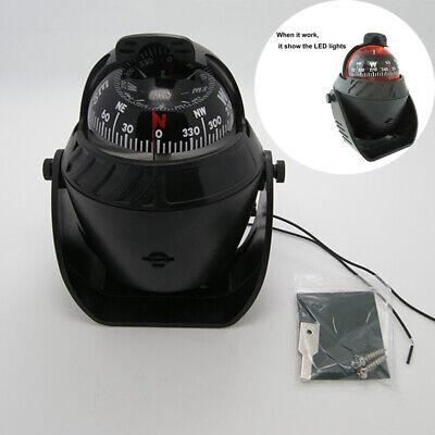 Car Truck Boat Adhesive Navigation Compass Ball 12V LED Light Dashboard -