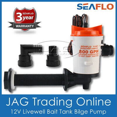 12V SEAFLO 800GPH LIVEWELL LIVE BAIT TANK AERATOR BILGE PUMP - BOAT WATER WELL