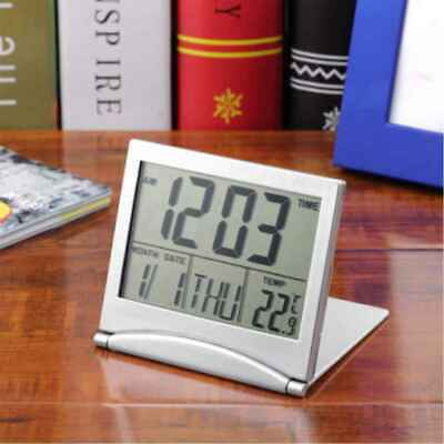 Digital LCD Display Desk Alarm Snooze Clock Calendar Date Time Thermometer US