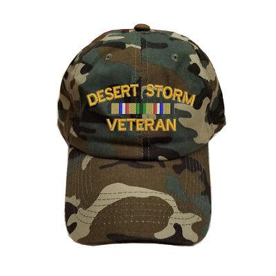 Cotton Desert Storm Camouflage - 100% COTTON GREEN CAMO CAMOUFLAGE BASEBALL CAP HAT DESERT STORM VETERAN RIBBON