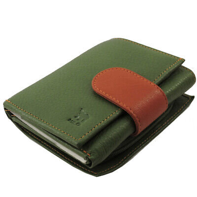 Leather French Purse Id Wallet (Genuine Leather RFID Ladies French Bi Fold Wallet - Olive ID, CC, Coin Purse )