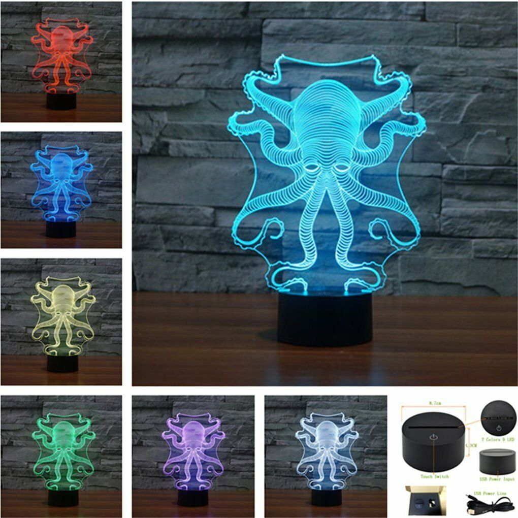 Desk Lamp Octopus 3D lights Optical Illusion Multi-colored Change Touch Botton