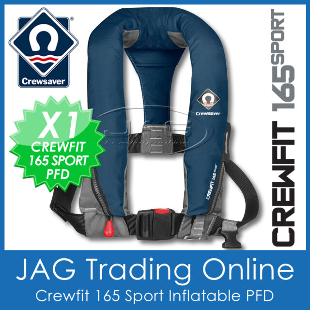 CREWSAVER CREWFIT 165 SPORT NAVY BLUE INFLATABLE PFD - MANUAL LIFE JACKET 165N