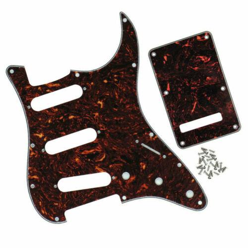 Set FD Strat Guitar Pickguard SSS 11-Hole & Back Plate 4Ply Brown 03.12