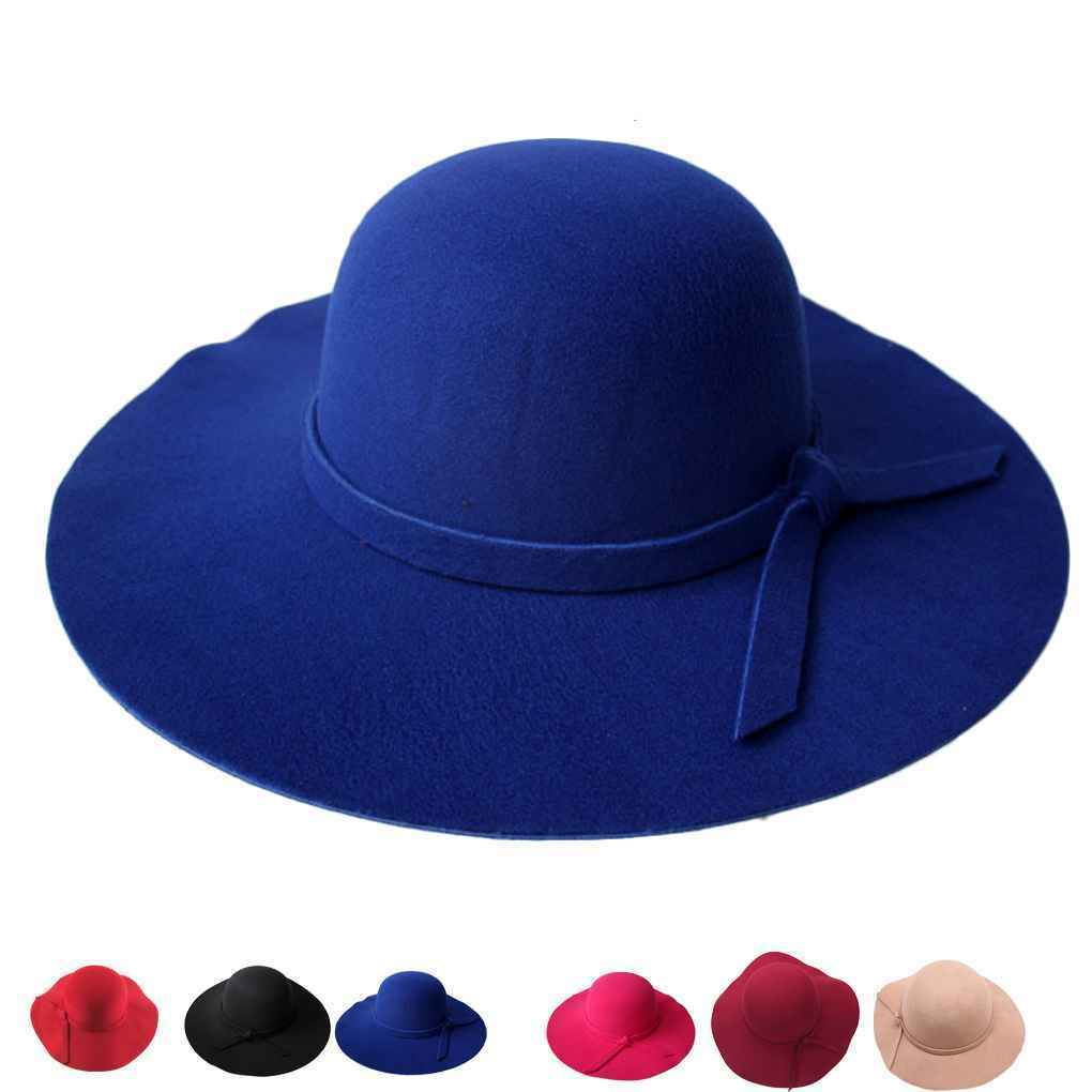 7792f8a7598840 Details about Stylish Kids Girls Wide Brim Retro Felt Bowler Floppy Cap  Cloche Hat Sun Cap