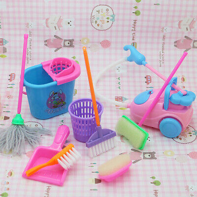9pcs/set Mini Doll Accessories House Cleaning Tools for Dollhouse Kids Education