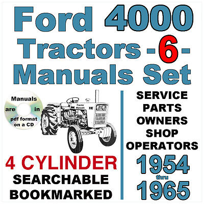 Ford 4000 4 Cylinder Tractor Service Parts Owners Manual -6- Manuals 1954-65 Cd
