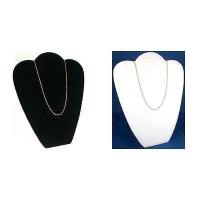 Black White Velvet Necklace Chain Jewelry Display Easel Bust Kit 2 Pcs