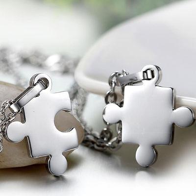 2pcs Stainless Steel Necklace Set Puzzle Piece Couple Friendship Best Friend BFF (Puzzle Piece Necklace Set)
