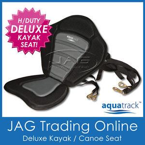 DELUXE-AQUATRACK-PADDED-KAYAK-CANOE-SEAT-BACK-REST-Straps-Brass-Snap-Hooks