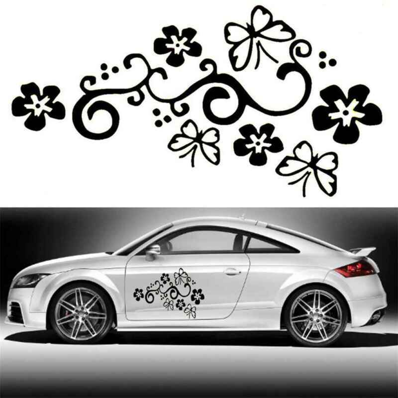 2pcs Butterfly Flower Vinyl Car Graphics Window Stickers Decal Cars