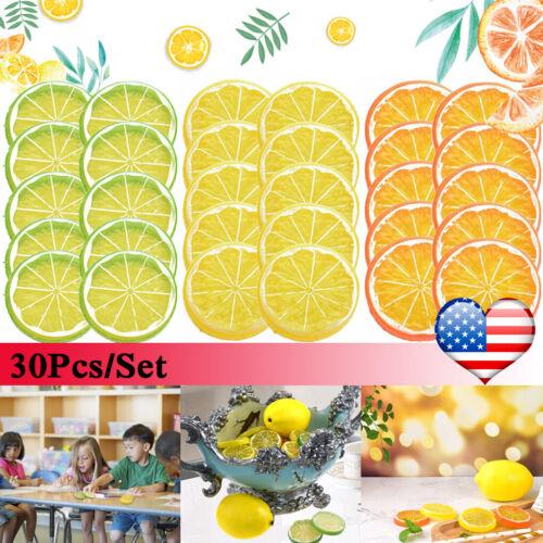 30Pcs Simulation Fake Lemon Slices Artificial Fruit Home Party Kitchen Decor US
