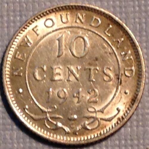 1942 C Newfoundland Canada George VI  Ten 10 Cents