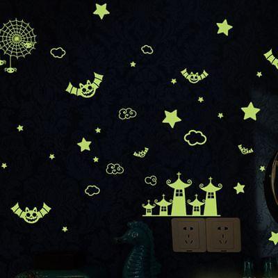 Kreativ Vinyl Aufkleber Happy Halloween Fluoreszierend Kind Zimmer Wandaufkleber ()