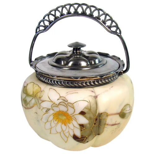 Mount Washington Glass Biscuit Jar with Silver Plated Handle - 1890