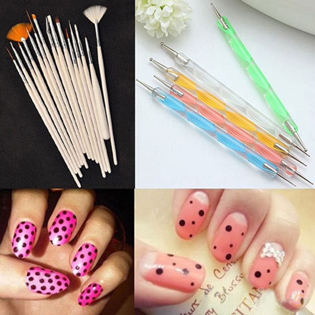 20Pcs Beauty Nail Art Design Set Dotting Painting Drawing Polish ...