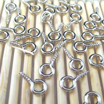 100 Pcs/Set Tiny Mini Eye Pins Eyepins Hooks Eyelets Metal Screw Threaded Peg