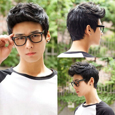 Men 's Short wigs Fiber hairpiece toupee 100% Real natural Human hair gents wig