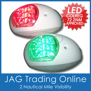 LED-NAVIGATION-LIGHTS-WHITE-HOUSINGS-USCG-Port-Starboard-Marine-Boat-Nav-BLW