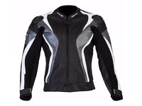 New Mens Leather Motorcycle Jacket - Spada Curve - Grey - Sizes 40-48