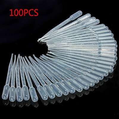 100pcs 3ml Disposable Plastic Eye Dropper Set Transfer Graduated Pipettes Pipett