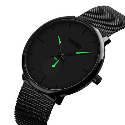 SKMEI Mens Minimalist Thin Black Dial Stainless Steel Band Analog Wrist Watch US Black Dial Steel Band
