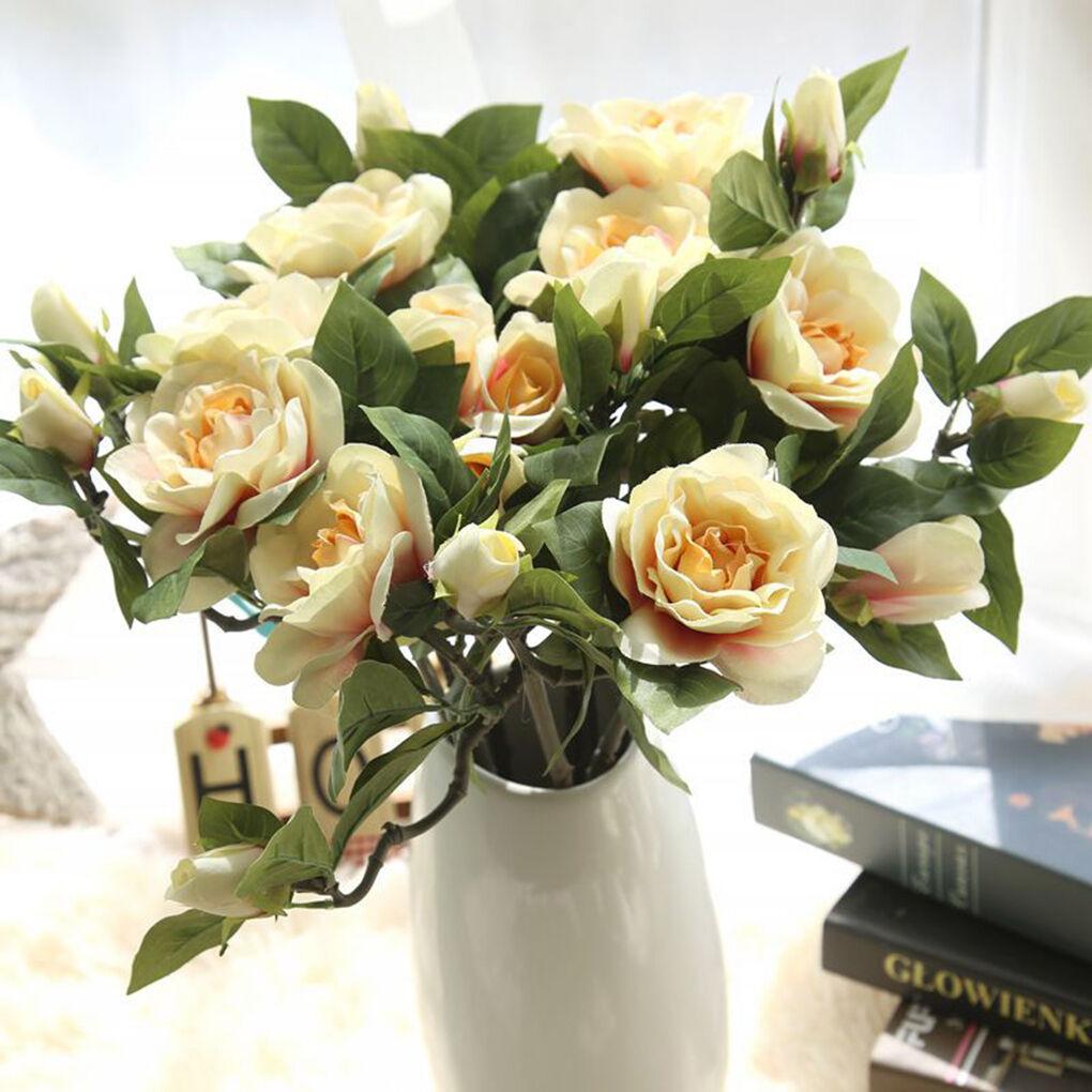 New Fake Artificial Silk Wedding Flower Gardenia Flowers Bouquet ...