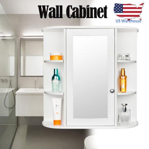 Bathroom Wall Cabinet Storage Organizer with Mirror Door 3-t