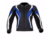 New Mens Leather Motorcycle Jacket - Spada Curve - Blue -Sizes 40-48